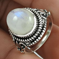Rattling 925 Sterling Silver Rainbow Moonstone Ring Jewellery