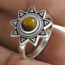 2019 Trend 925 Sterling Silver Tiger Eye Gemstone Ring Vintage Jewellery