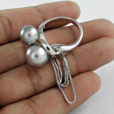 Indian Sterling Silver Jewellery Charming Grey Pearl Gemstone Ring Hersteller