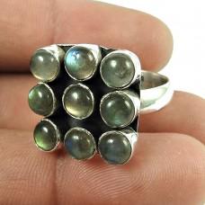 Party Wear Labradorite Gemstone Ring Sterling Silver Fashion Jewellery Al por mayor
