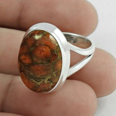 Rare 925 Sterling Silver Brown Copper Turquoise Gemstone Ring Size 7 Ethnic Jewelry D55