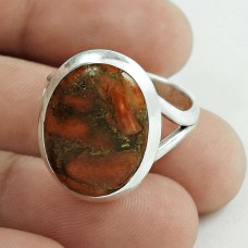 Party Wear 925 Sterling Silver Brown Copper Turquoise Gemstone Ring Size 8 Ethnic Jewelry D56