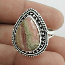 Pretty 925 Sterling Silver Rhodochrosite Gemstone Ring Size 6 Handmade Jewelry D57