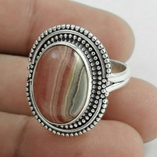 Beautiful 925 Sterling Silver Rhodochrosite Gemstone Ring Size 6 Handmade Jewelry D58