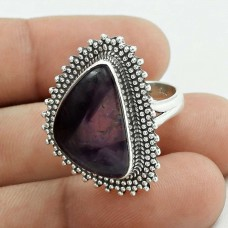 Rare 925 Sterling Silver Amethyst Gemstone Ring Size 5.5 Ethnic Jewelry D60