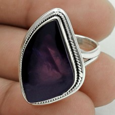 Pleasing 925 Sterling Silver Amethyst Gemstone Ring Size 5.5 Antique Jewelry D63