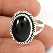 Natural BLACK ONYX HANDMADE Jewelry 925 Solid Sterling Silver Ring Size 6 PJ61
