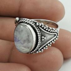 Stunning 925 Sterling Silver Rainbow Moonstone Gemstone Ring Size 9 Handmade Jewelry D74