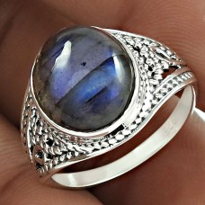 Well-Favoured 925 Sterling Silver Labradorite Gemstone Ring Size 7.5 Handmade Jewelry D86