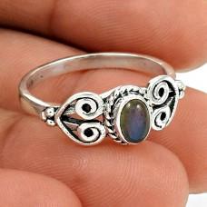 Labradorite Gemstone Ring 925 Sterling Silver Women Gift Jewelry AZ36