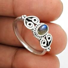 Labradorite Gemstone Ring 925 Sterling Silver Vintage Look Jewelry PH37