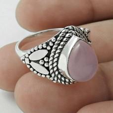 Rare 925 Sterling Silver Rose Quartz Gemstone Ring Size 7.5 Ethnic Jewelry E4