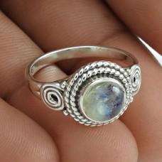Trendy 925 Sterling Silver Rainbow Moonstone Gemstone Ring Size 7 Handmade Jewelry E5