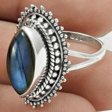 Latest Trend 925 Sterling Silver Labradorite Gemstone Ring Size 7 Vintage Jewelry E17