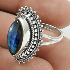 Pleasing 925 Sterling Silver Labradorite Gemstone Ring Size 5.5 Antique Jewelry E18