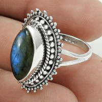 Lovely 925 Sterling Silver Labradorite Gemstone Ring Size 6 Vintage Jewelry E22