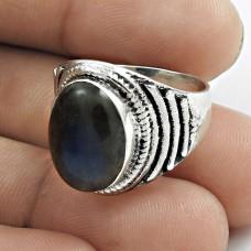 Beautiful 925 Sterling Silver Labradorite Gemstone Ring Size 6.5 Traditional Jewelry E61