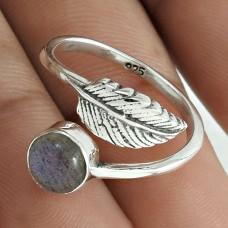 Engaging 925 Sterling Silver Labradorite Gemstone Leaf Ring Size 6.5 Handmade Jewelry E93