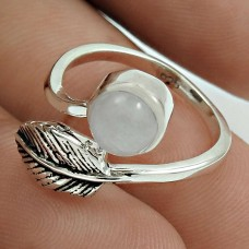Pleasing 925 Sterling Silver Rainbow Moonstone Gemstone Leaf Ring Size 5.5 Antique Jewelry F1