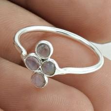 Pleasing 925 Sterling Silver Labradorite Gemstone Ring Size 7 Handmade Jewelry F18