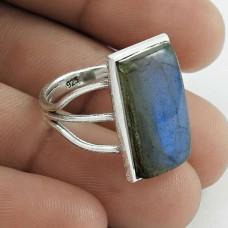 Party Wear 925 Sterling Silver Labradorite Gemstone Ring Size 8 Handmade Jewelry F35