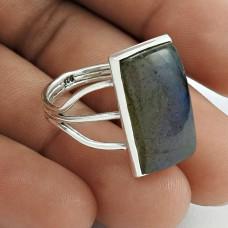 Lovely 925 Sterling Silver Labradorite Gemstone Ring Size 9 Handmade Jewelry F37
