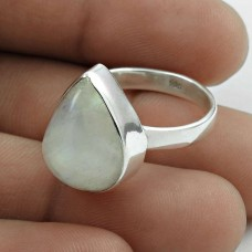 Lustrous 925 Sterling Silver Rainbow Moonstone Gemstone Ring Size 8 Ethnic Jewelry F43
