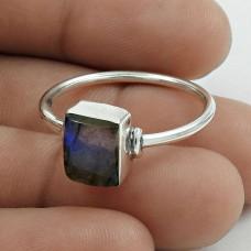 Handy 925 Sterling Silver Labradorite Gemstone Ring Size 11 Handmade Jewelry F48