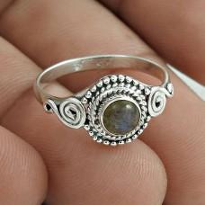 Classic 925 Sterling Silver Labradorite Gemstone Ring Size 7 Handmade Jewelry F55