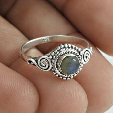 Beautiful 925 Sterling Silver Labradorite Gemstone Ring Size 6.5 Antique Jewelry F59