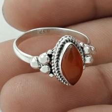 Lovely 925 Sterling Silver Carnelian Gemstone Ring Size 8 Handmade Jewelry G18