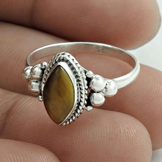Scenic 925 Sterling Silver Tiger Eye Gemstone Ring Size 8 Ethnic Jewelry G19