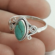 Beautiful 925 Sterling Silver Turquoise Gemstone Ring Size 8 Antique Jewelry G30