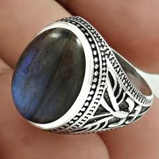 Personable 925 Sterling Silver Labradorite Gemstone Ring Size 7.5 Handmade Jewelry G56