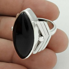 Daily Wear 925 Sterling Silver Black Onyx Gemstone Ring Size 8 Traditional Jewelry G62
