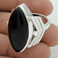 Rare 925 Sterling Silver Black Onyx Gemstone Ring Size 8 Ethnic Jewelry G63