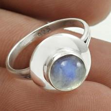 Sightly 925 Sterling Silver Rainbow Moonstone Gemstone Ring Size 6.5 Handmade Jewelry H10
