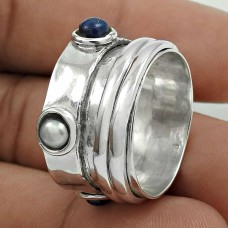 Pleasing 925 Sterling Silver Pearl, Lapis Gemstone Spinner Ring Size 7.5 Antique Jewelry H56
