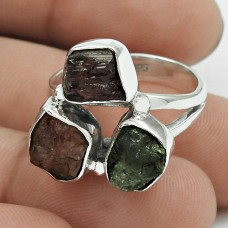 Daily Wear 925 Sterling Silver Tourmaline Rough Stone Ring Size 7.5 Ethnic Jewelry H68