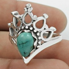 Turquoise Gemstone Ring 925 Sterling Silver Vintage Look Jewelry YH44
