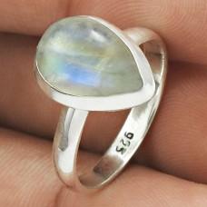 Rainbow Moonstone Gemstone Ring 925 Sterling Silver Tribal Jewelry PL46
