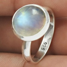 Rainbow Moonstone Gemstone Ring 925 Sterling Silver Ethnic Jewelry QA46