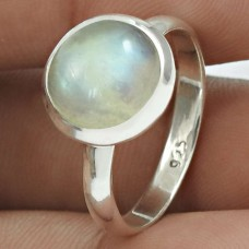 Rainbow Moonstone Gemstone Ring 925 Sterling Silver Vintage Jewelry WS46