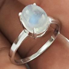 Rare 925 Sterling Silver Rainbow Moonstone Gemstone Ring Size 8 Handmade Jewelry I23