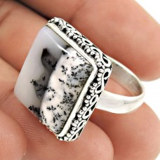Natural DENDRITE OPAL Ring Size 7 925 Solid Sterling Silver HANDMADE GG65