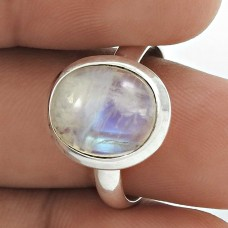 Natural RAINBOW MOONSTONE Ring Size 8 925 Solid Sterling Silver HANDMADE II65