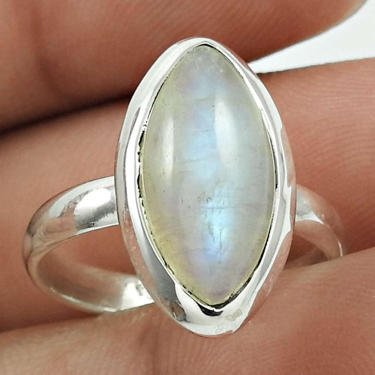 Rainbow Moonstone Natural Gemstone 925 Solid Sterling Silver Handmade Ring