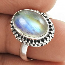 Natural RAINBOW MOONSTONE Ring Size 6 925 Solid Sterling Silver HANDMADE QQ69