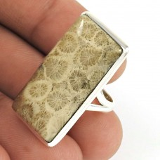 Natural FOSSIL CORAL HANDMADE Jewelry 925 Solid Sterling Silver Ring Size 6 PJ1