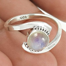 HANDMADE 925 Solid Sterling Silver Natural RAINBOW MOONSTONE Ring Size 7.5 XU2